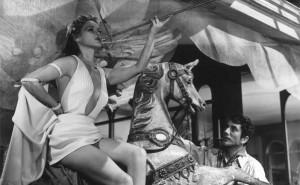"""Simone Simon poses for Jean Servais in """"Le Plaisir."""""""