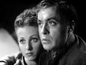 "Danielle Darrieux as Marie and Charles Boyer as Rudolf in ""Meyerling."""