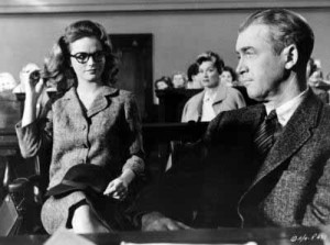 "Lee Remick with James Stewart in ""Anatomy of a Murder."""