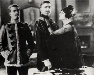 """Ramon Navarro, Stuart Holmes and Barbara La Marr in """"The Prisoner of Zenda."""""""