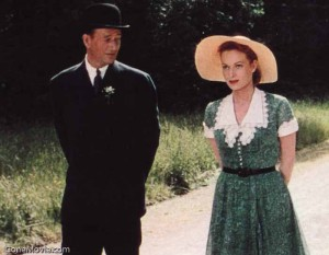 "John Wayne and Maureen O'Hara enjoy their courtship in ""The Quiet Man."""