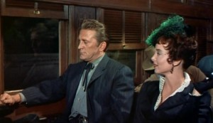 "Kirk Douglas and Carolyn Jones in ""The Last Train From Gun Hill."""