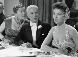 """Joan Ingram (left), Charlie Chaplin and Dawn Addams in """"A King in New York."""""""