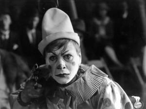 "Gosta Ekman plays Joe HIggins, a white-faced clown, in ""The Golden Clown."""