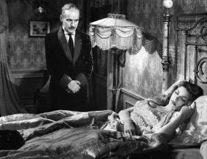 "Charles Chaplin with Martha Raye in ""Monsieur Verdoux."""