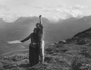 """Edith Erastoff (Halla) and Victor Sjostrom (Berg-Ejvind) find love in """"The Outlaw and His Wife."""""""