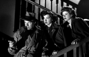 """From left, Dennis O'Keefe, Marsha Hunt and Claire Trevor star in """"Raw Deal."""""""