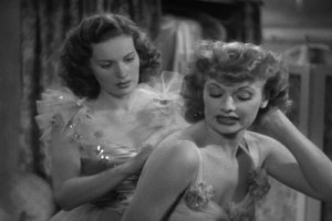 """Maureen O'Hara (left) as Judy and Lucille Ball as Bubbles in """"Dance, Girl, Dance.:"""