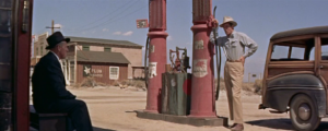 """Spenser Tracy (left) and Robert Ryan in """"Bad Day at Black Rock."""""""