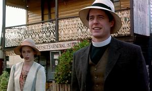 "Tara Fitzgerald and Hugh Grant star in ""Sirens."""