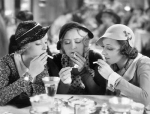 """From left, Bette Davis, Joan Blondel and Ann Dvorak play with fire in """"Three on a Match."""""""