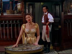 "Yvonne De Carlo and Philip Friend in ""Buccaneer's Girl."""