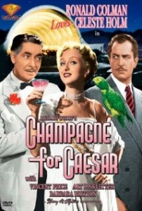 "The movie poster for ""Champagne for Caesar."""