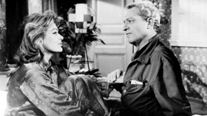 "Jules Dassin (right) wants to reform Melina Mercouri in ""Never on Sunday."""