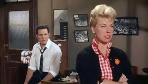 "John Raitt falls in love with Doris Day in ""The Pajama Game."""