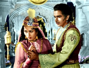 "Madhubala, as Anarkali, entices Dilip Kumar (as Prince Salim) in ""Mughal-e-Azam."""