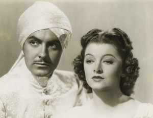 "Tyrone Power and Myrna Loy star in ""The Rains Came."""